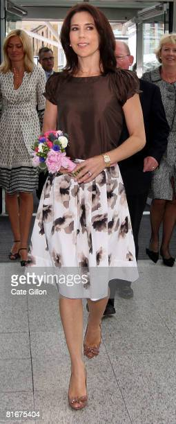 Her Royal Highness the Crown Princess Mary of Denmark accompanied by Dorte Thing commercial advisor at Danish Embassy back L makes her way to the...