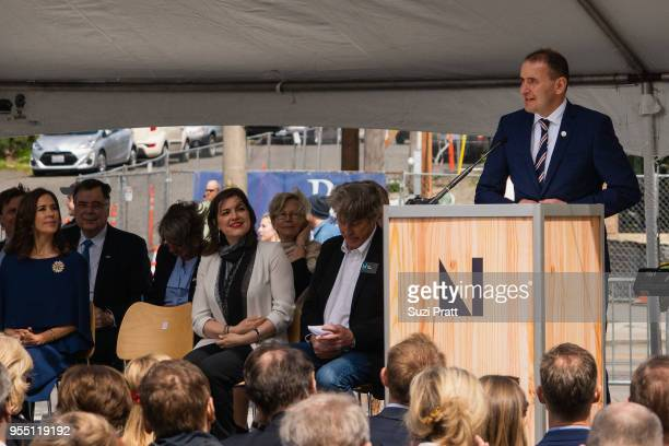 Her Royal Highness the Crown Princess Mary of Denmark Iceland First Lady Eliza Reid and Nordic Museum Executive Director Eric Nelson watch President...