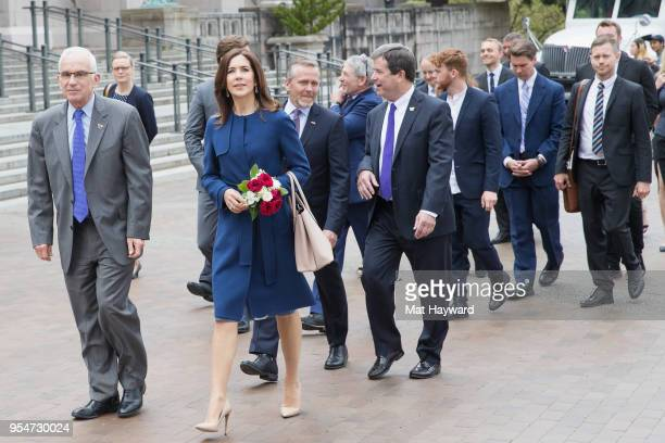 Her Royal Highness the Crown Princess Mary of Denmark visits the University of Washington Communications Major Lynn Lee during the launch of a new...