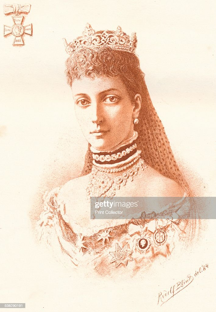 Her Royal Highness The Princess of Wales, 1884. Queen Alexandra when Princess of Wales. Alexandra of Denmark (1844-1925) was Queen of the United Kingdom of Great Britain and Ireland and Empress of India as the wife of King-Emperor Edward VII (1841-1910). After a photograph by Alexander Bassano (1829-1913). From The Illustrated Naval and Military Magazine Volume I [The Illustrated London News, London, 1884] Artist: Rudolf Blind