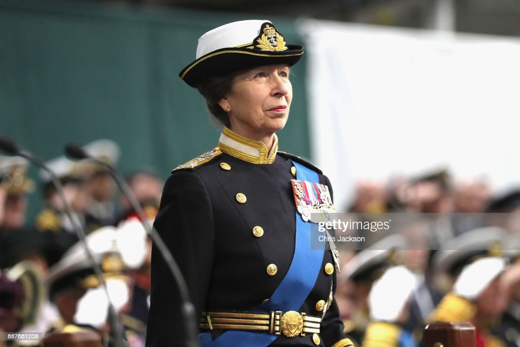 Her Royal Highness The Princess Royal attends the Commissioning Ceremony of HMS Queen Elizabeth at HM Naval Base on December 7, 2017 in Portsmouth, England.