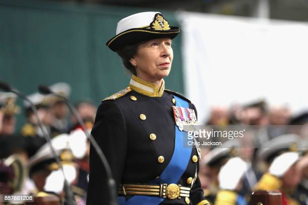Her Royal Highness The Princess Royal attends the Commissioning Ceremony of HMS Queen Elizabeth at HM Naval Base on December 7, 2017 in Portsmouth,...