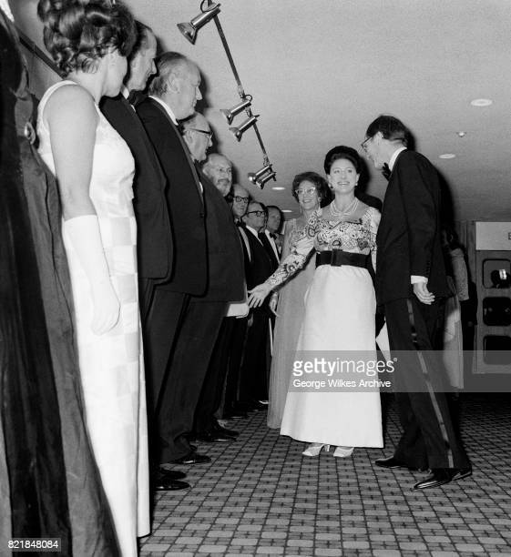 Her Royal Higness, Princess Margaret, Countess of Snowdon photographed attending a theatre event in Londons West End.