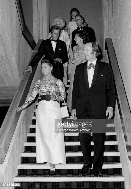 Her Royal Higness, Princess Margaret, Countess of Snowdon photographed attending a theatre event in Londons West End with her husband the Earl of...