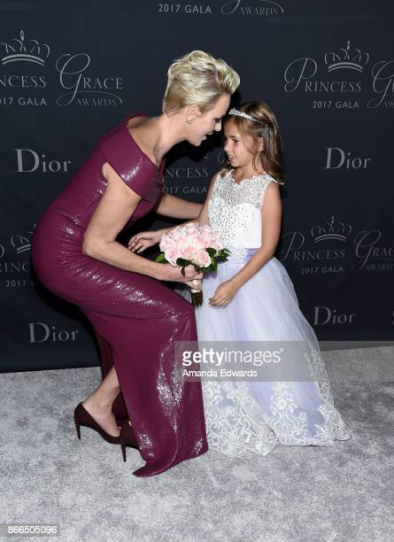 Her Serene Highness Princess Charlene of Monaco and flowergirl Sloane Levy arrive at the 2017 Princess Grace Awards Gala at The Beverly Hilton Hotel...