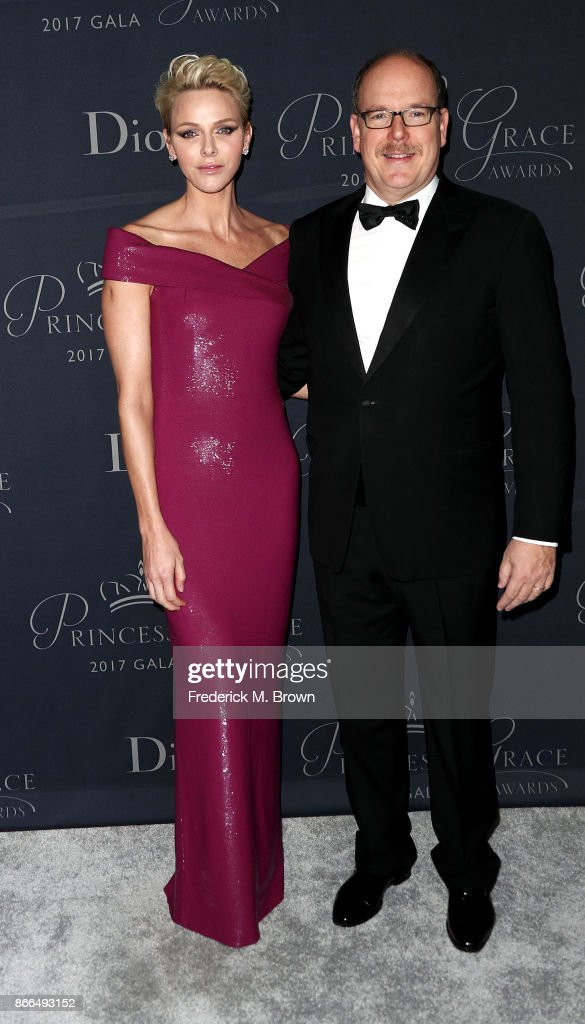 Her Serene Highness Princess Charlene of Monaco, and His Serene Highness Prince Albert II of Monaco attend the 2017 Princess Grace Awards Gala at The Beverly Hilton Hotel on October 25, 2017 in Beverly Hills, California.