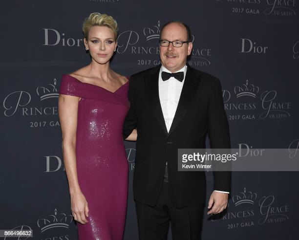 Her Serene Highness Princess Charlene of Monaco and His Serene Highness Prince Albert II of Monaco attend 2017 Princess Grace Awards Gala at The...