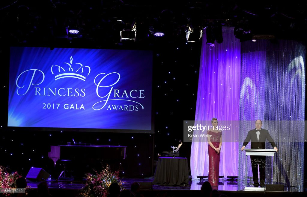 Her Serene Highness Princess Charlene of Monaco (L) and His Serene Highness Prince Albert II of Monaco speak onstage at 2017 Princess Grace Awards Gala at The Beverly Hilton Hotel on October 25, 2017 in Beverly Hills, California. (Photo by Kevin Winter/Getty Images for Princess Grace Foundation - USA