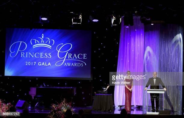 Her Serene Highness Princess Charlene of Monaco and His Serene Highness Prince Albert II of Monaco speak onstage at 2017 Princess Grace Awards Gala...