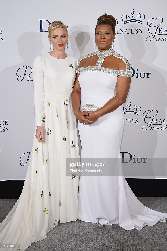 Her Serene Highness Princess Charlene of Monaco (L) and Queen Latifah attend the 2016 Princess Grace Awards Gala with presenting sponsor Christian Dior Couture at Cipriani 25 Broadway on October 24, 2016 in New York City.
