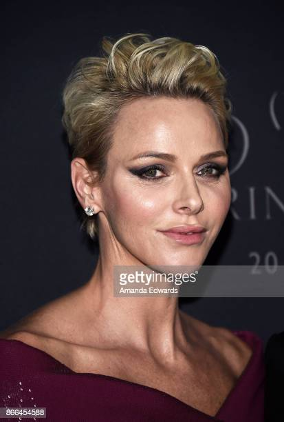 Her Serene Highness Princess Charlene of Monaco arrive at the 2017 Princess Grace Awards Gala at The Beverly Hilton Hotel on October 25 2017 in...