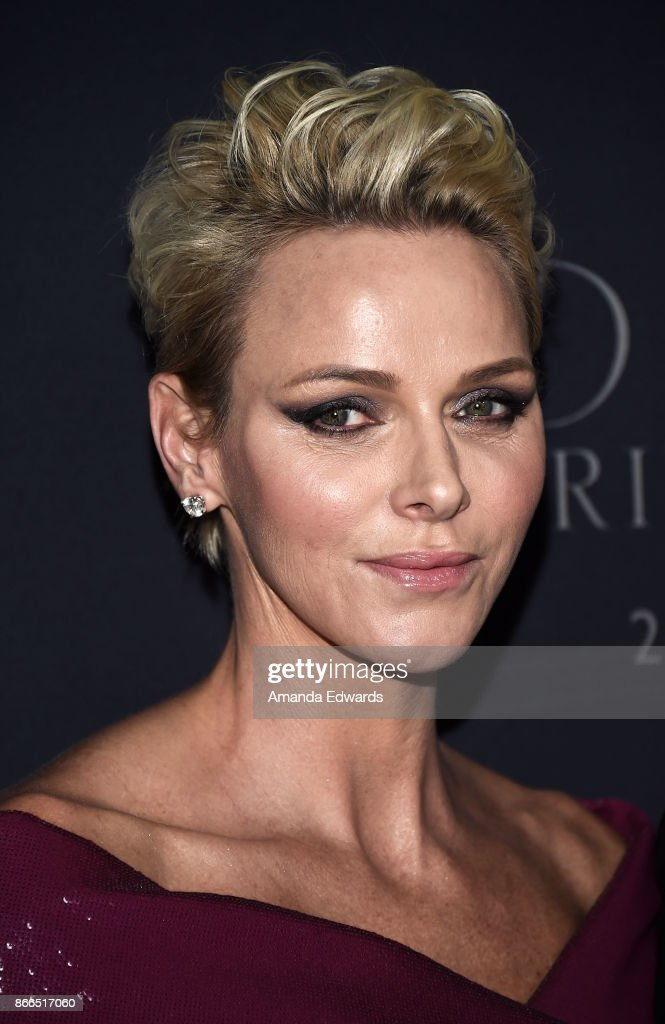 Her Serene Highness Princess Charlene of Monaco arrives at the 2017 Princess Grace Awards Gala at The Beverly Hilton Hotel on October 25, 2017 in Beverly Hills, California.