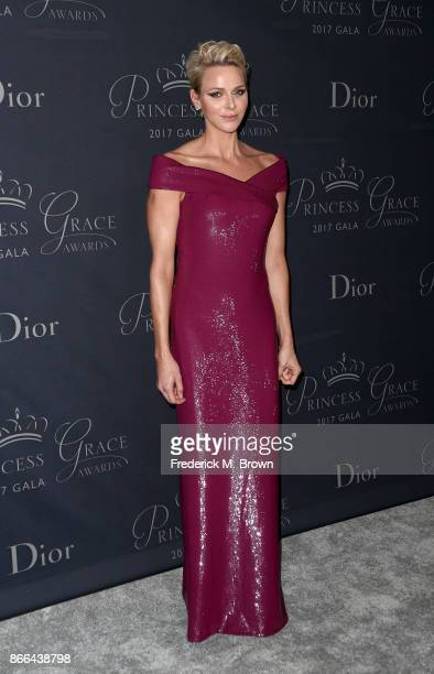Her Serene Highness Princess Charlene of Monaco attends 2017 Princess Grace Awards Gala at The Beverly Hilton Hotel on October 25 2017 in Beverly...