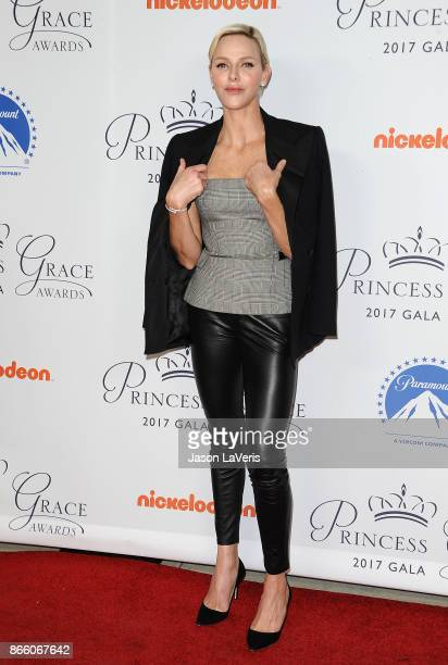 Her Serene Highness Princess Charlene of Monaco attends the 2017 Princess Grace Awards gala kick off event at Paramount Pictures on October 24 2017...