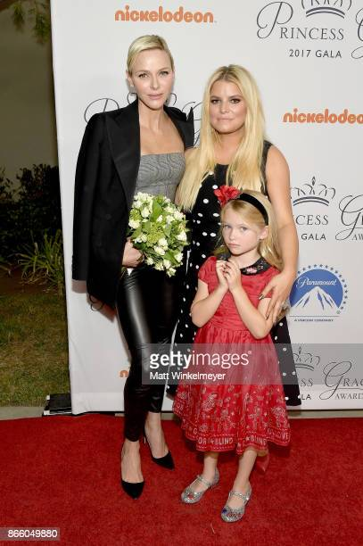 Her Serene Highness Princess Charlene of Monaco Jessica Simpson and daughter Maxwell Johnson attend the 2017 Princess Grace Awards Gala Kick Off...