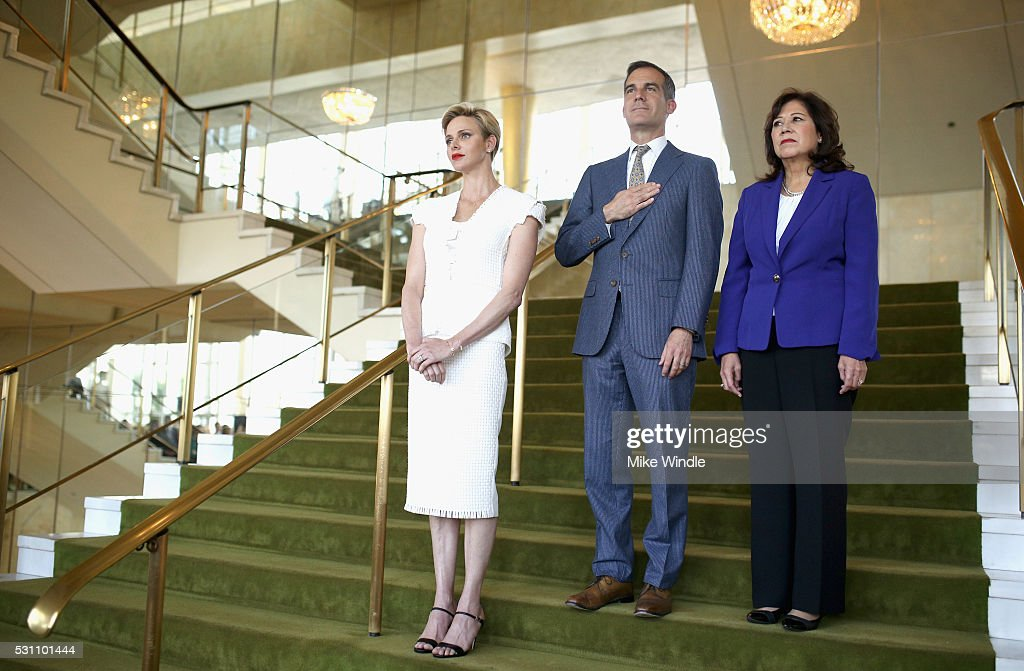 Her Serene Highness Princess Charlene of Monaco, Mayor of Los Angeles Eric Garcetti and Former United States Secretary of Labor Hilda Solis attend the Blue Ribbon of the Los Angeles Music Center to honor Princess Charlene of Monaco at Grand Hall at the Dorothy Chandler Pavililon on May 12, 2016 in Los Angeles, California.