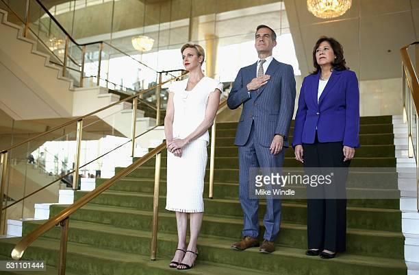 Her Serene Highness Princess Charlene of Monaco Mayor of Los Angeles Eric Garcetti and Former United States Secretary of Labor Hilda Solis attend the...