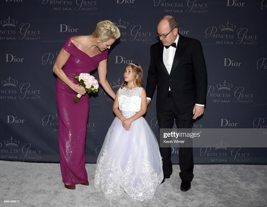 Her Serene Highness Princess Charlene of Monaco, Sloane Levy and His Serene Highness Prince Albert II of Monaco attend 2017 Princess Grace Awards Gala at The Beverly Hilton Hotel on October 25, 2017 in Beverly Hills, California.