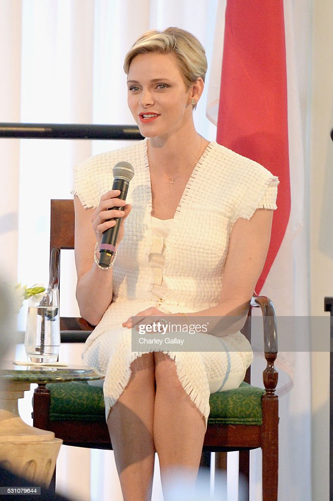 Her Serene Highness Princess Charlene of Monaco speaks onstage during the Blue Ribbon of the Los Angeles Music Center to honor Princess Charlene of Monaco at Grand Hall at the Dorothy Chandler Pavililon on May 12, 2016 in Los Angeles, California.