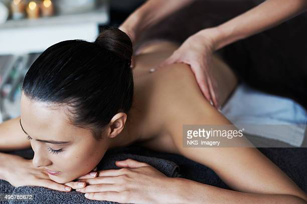 her stress relief is in good hands - massage stock photos and pictures