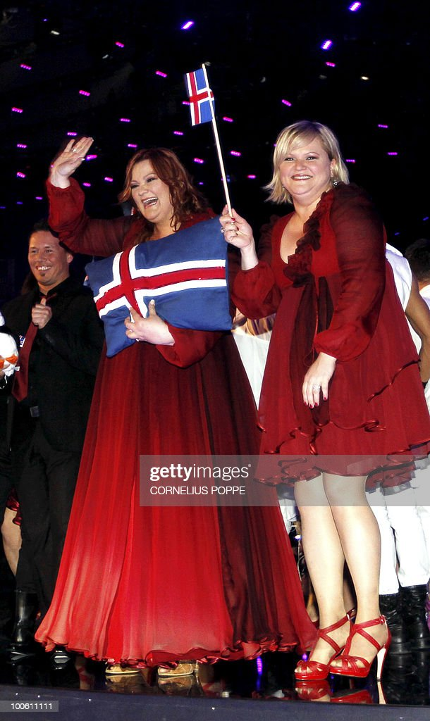 Hera Bjork (L) from Iceland celebrates after qualifying for the final Eurovision Song Contest in Telenor Arena in Baerum, Norway, on May 25, 2010. The 55th Eurovision Song Contest finale will take place on May 29 in the Telenor Arena in Oslo, after Norwegian Alexander Rydbak took the top prize in Moscow last year with his song 'Fairytale'. AFP PHOTO/SCANPIX/Cornelius Poppe ==NORWAY
