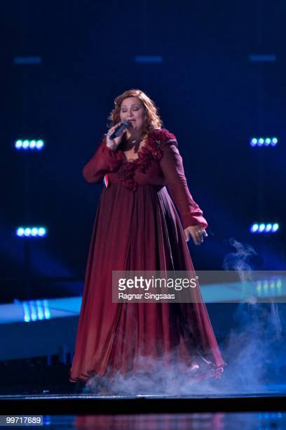 Hera Bjork of Iceland performs at the open rehearsal at the Telenor Arena on May 17 2010 in Oslo Norway 39 countries will take part in the 55th...