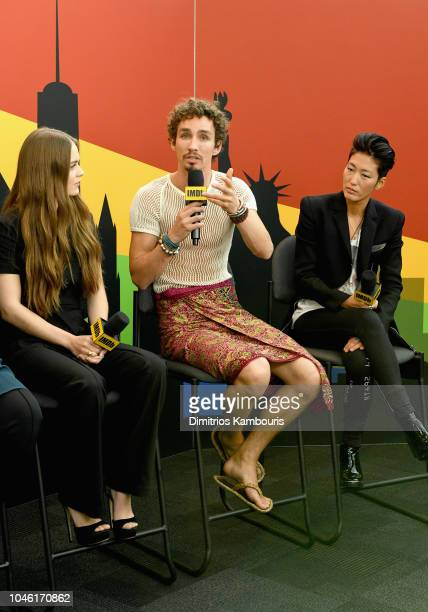 Hera Hilmar Robert Sheehan and Jihae of 'Mortal Engines' attend IMDb at New York Comic Con Day 1 at Javits Center on October 5 2018 in New York City