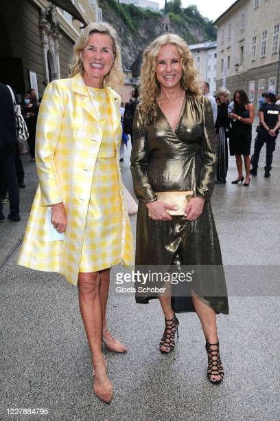 """Hera Lind and Katja Burkard attend the premiere of """"Cosi fan tutte"""" during the Salzburg Festival 2020 at Salzburg State Theatre on August 2, 2020 in..."""