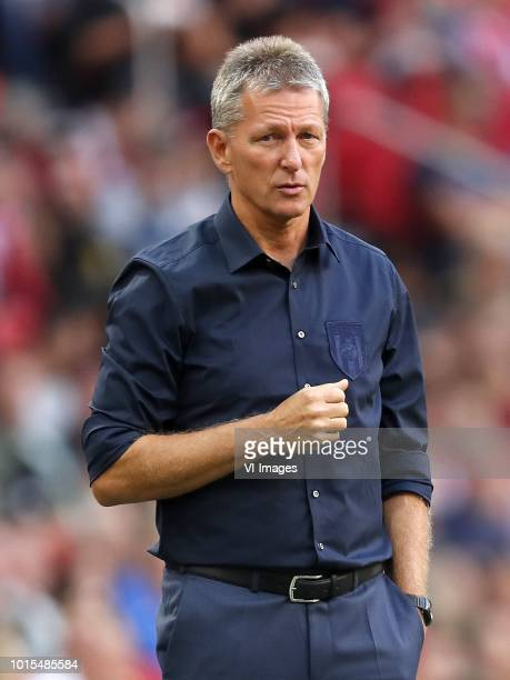 Heracles Almelo coach Frank Wormuth during the Dutch Eredivisie match between Ajax Amsterdam and Heracles Almelo at the Johan Cruijff Arena on August...