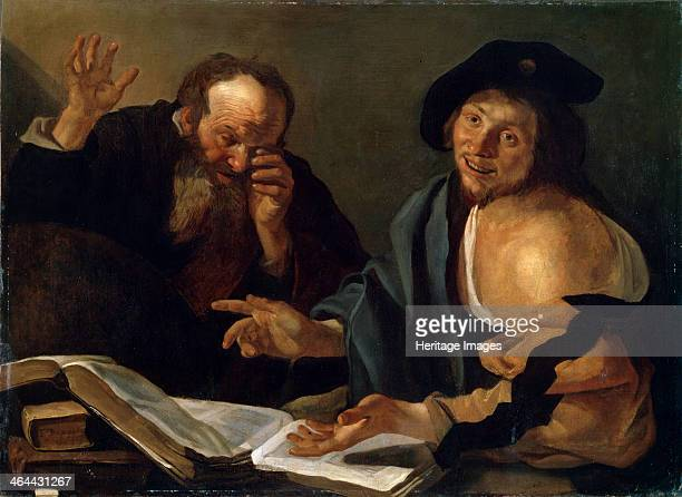 'Heraclitus and Democritus' early 17th century Heraclitus and Democritus were Ancient Greek philosophers Found in the collection of the State M...