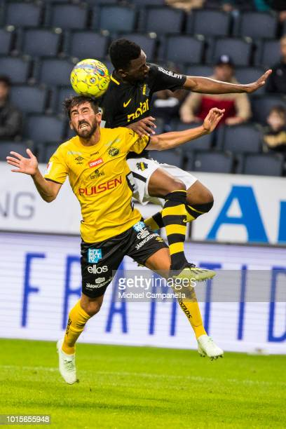 Heradi Rashidi of AIK fights for the ball with Fredrik Holst of IF Elfsborg during an Allsvenskan match between AIK and IF Elfsborg at Friends Arena...