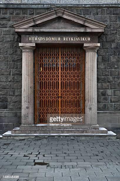 heradsdomur reykjavikur gated doorway. - merten snijders stock pictures, royalty-free photos & images