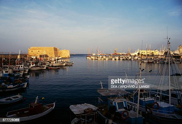 Heraklion port with the Koules fortress in the background Crete Greece