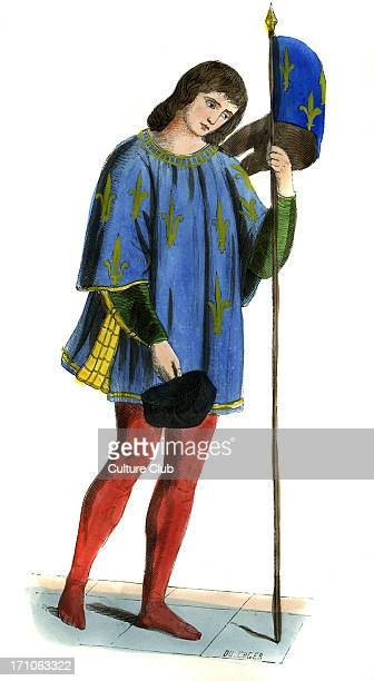 Herald announcer of death of Charles VI shown wearing fleurdelis patterned tunic holding fleurdelis flag and black cap c 1847 hand painted copy of a...