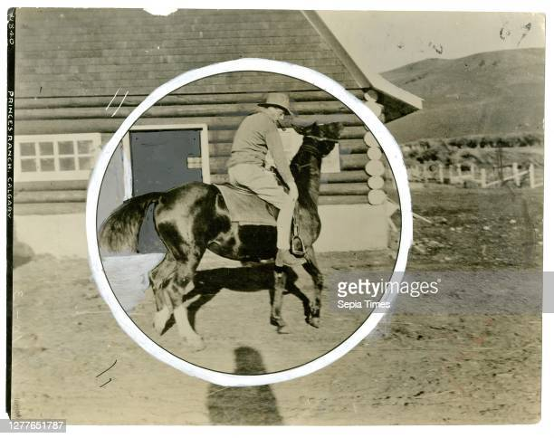 Herald Tribune Photographer Acme Prince of Wales Breaking a Horse on Canadian Ranch nd gelatin silver print
