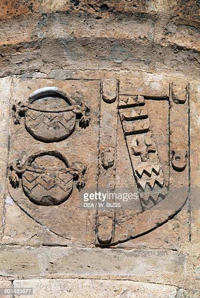 Heraldic symbol of the Marquis of Villena relief in Belmonte castle Hill of San Cristobal Belmonte CastileLa Mancha Spain 15th century