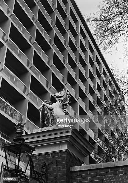 A heraldic unicorn outside the Royal Garden Hotel in Kensington November 1965