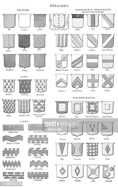 heraldry. antique illustration, popular encyclopedia published 1894 - insígnia - fotografias e filmes do acervo