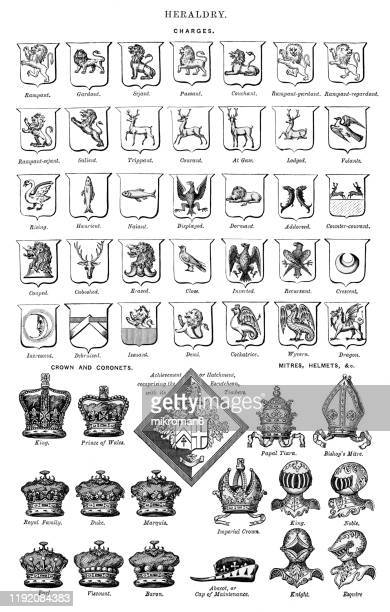 heraldry. antique illustration, popular encyclopedia published 1894 - logo stock pictures, royalty-free photos & images