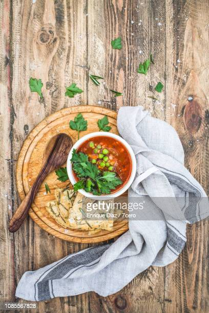 herb and vegetable soup for one - dish towel stock pictures, royalty-free photos & images