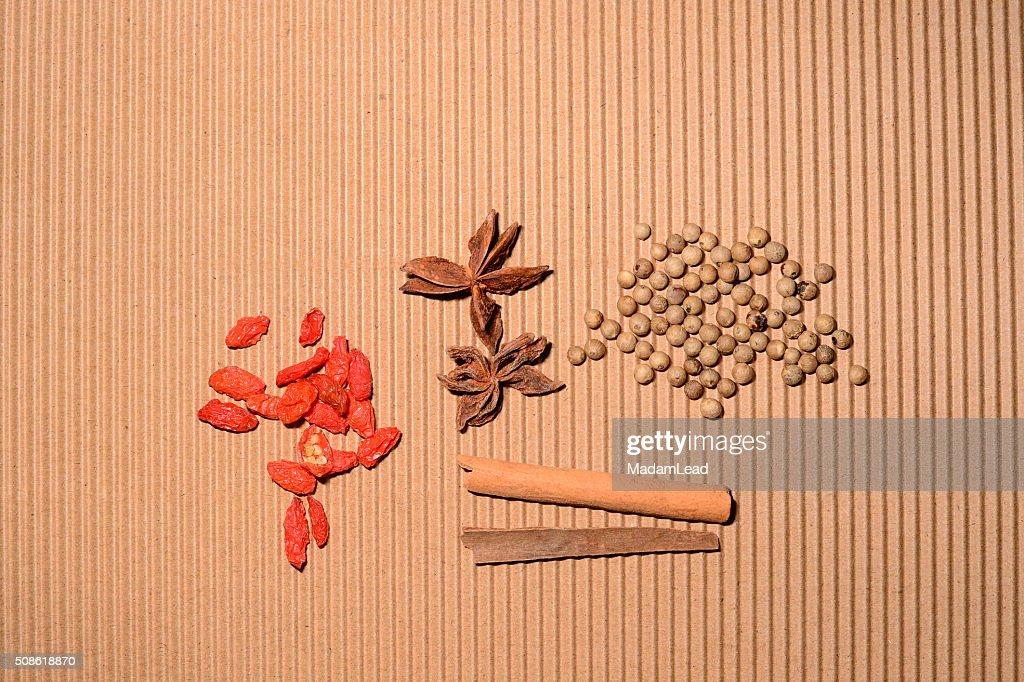 herb for food cinnamon pepper goji berry : Stock Photo