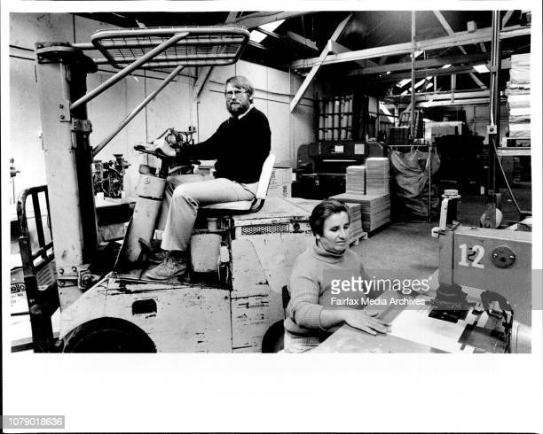Herb Gardner retired officer of the Australian Navy and now owner of AcmePlasticHerb captains a fork lift truck around the factory floor May 13 1986