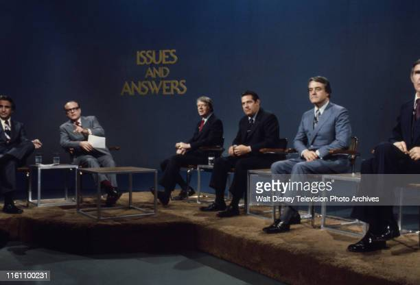 Herb Kaplow Bob Clark Governor Jimmy Carter Fred R Harris Indiana Senator Birch Bayh US Representative Mo Udall appearing on the ABC news program...