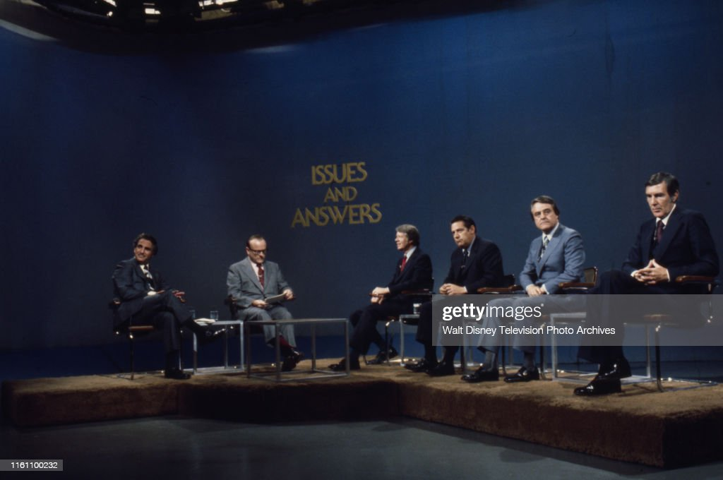 Herb Kaplow, Bob Clark, Jimmy Carter, Fred R Harris, Birch Bayh, Mo Udall Appearing On 'Issues And Answers' : News Photo