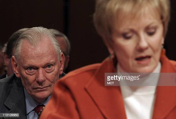 Herb Kelleher Chairman of Southwest Airlines listens as Rep Kay Granger testifies November 10 at a US Senate hearing on the Wright Amendment which...