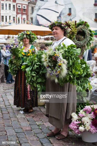 Herb market in the Dome Square in the Old Town Riga