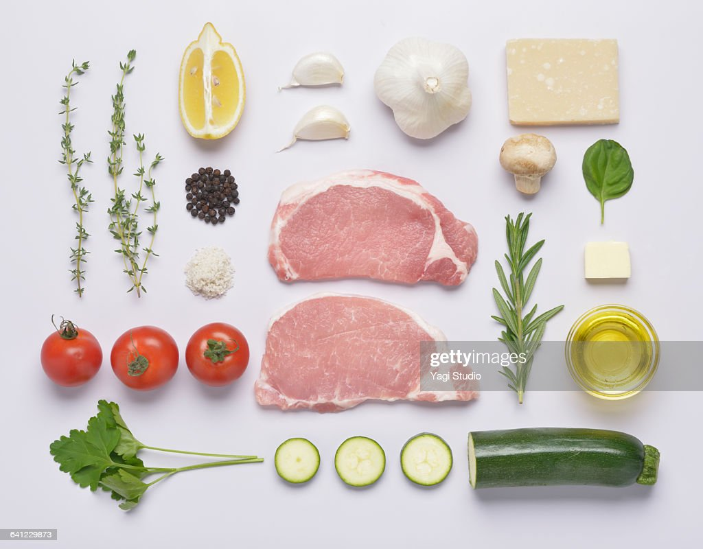 Herb oil grilled pork loin knolling style : Stock Photo