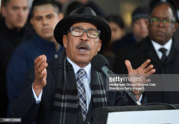Herb Wesson president of the Los Angeles City Council speaks at a press conference for the American Federation of Government Employees the union that...