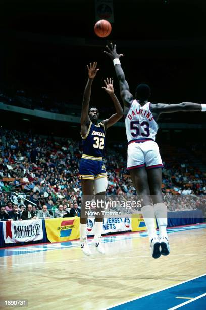Herb Williams of the Indiana Pacers takes a jumper during the NBA game against the New Jersey Nets at the Brendan Byrne Arena in East Rutherford New...