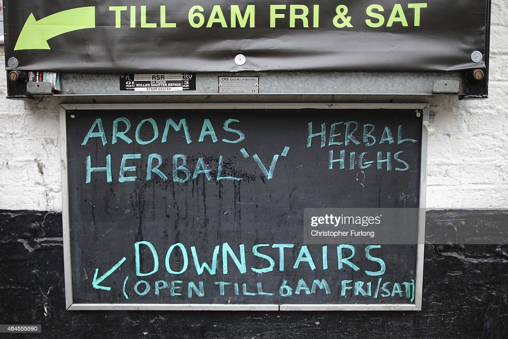Herbal highs are advertised outside a 'Headshop' on February 26, 2015 in Manchester, England. There has been a significant rise in the use of Legal Highs that are actually not against the law. They contain one or more chemical substances which produce similar effects to illegal drugs and can be purchased in local 'Headshops.' The 'highs' are not controlled under the Misuse of Drugs Act 1971 and can be purchased in many forms including pills, potions and herbs.